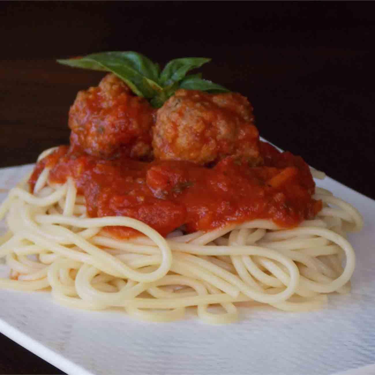 Healthier Italian Spaghetti Sauce with Meatballs Recipe
