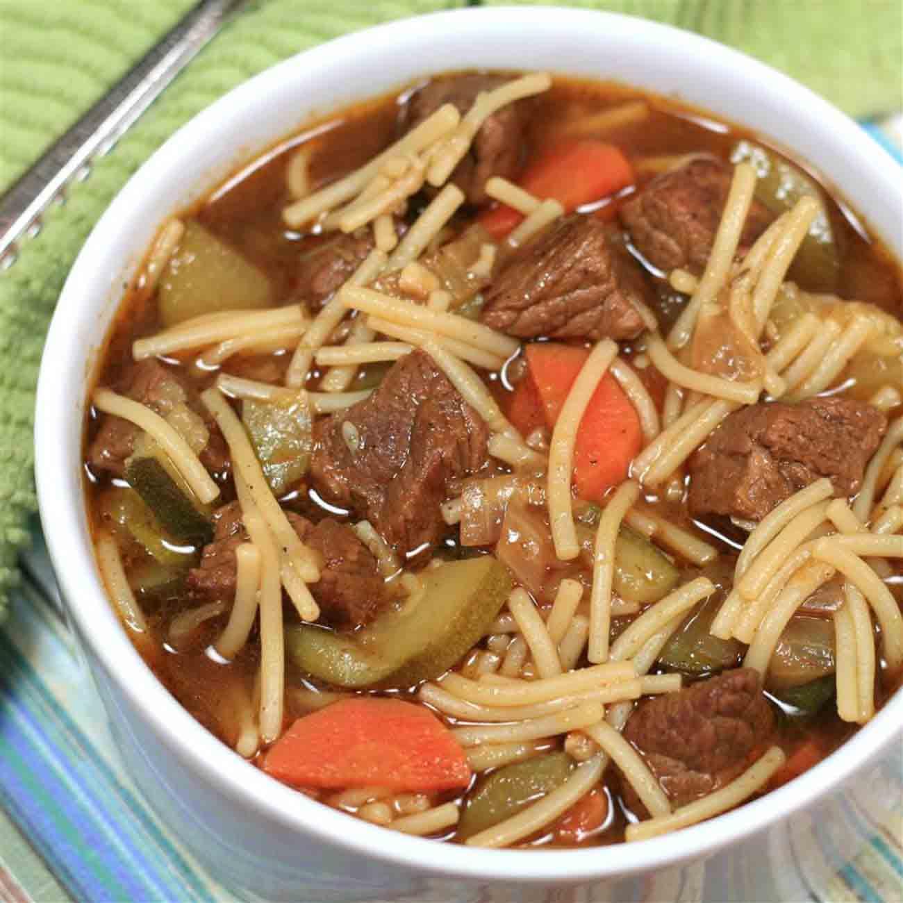 Peruvian Beef Noodle Soup (Sopa Criolla) Recipe
